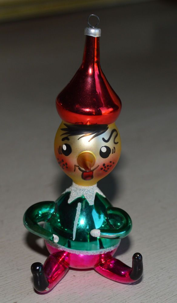 Vtg Italian Hand Blown Hand Painted Glass Christmas Ornament Roly Poly  Pinocchio - Vtg Italian Hand Blown Hand Painted Glass Christmas Ornament Roly