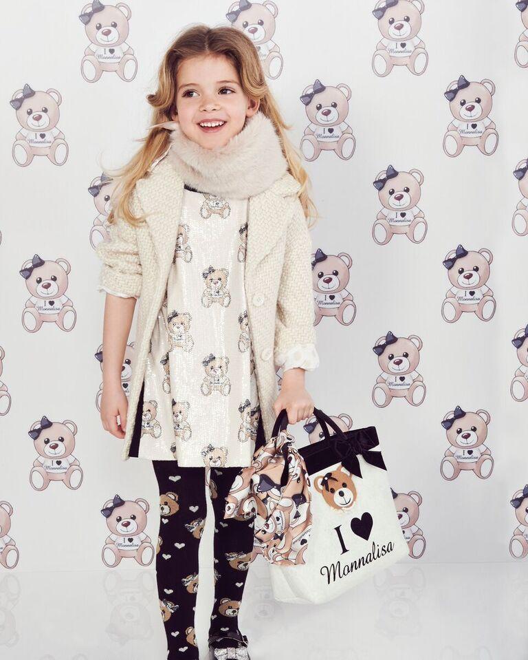 dbf4a33d7 Monnalisa girls white teddy bear print dress with bow collar ...