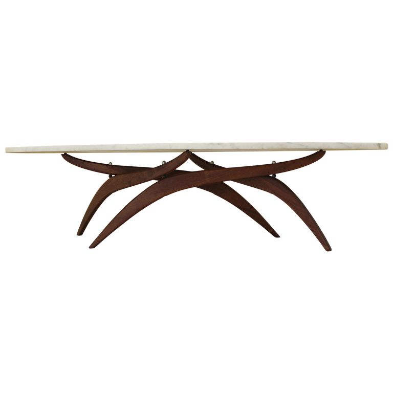 1stdibs | Adrian Pearsall Mid Century Modern Oval Marble Top Walnut Base Coffee  Table - Adrian Pearsall Mid Century Modern Oval Marble Top Walnut Base