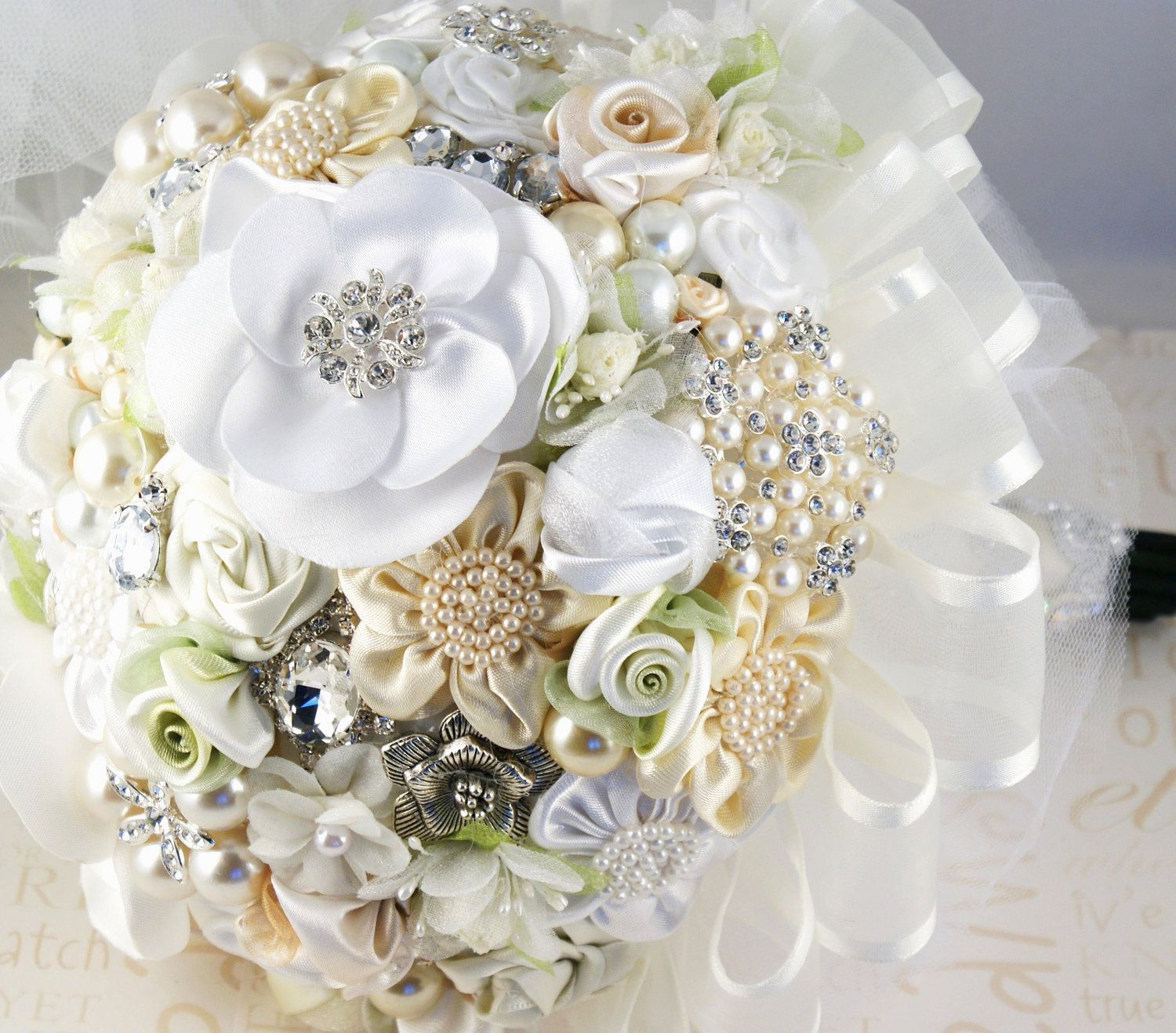 Brooch Wedding Bouquet Jeweled Bouquet in Ivory Cream by