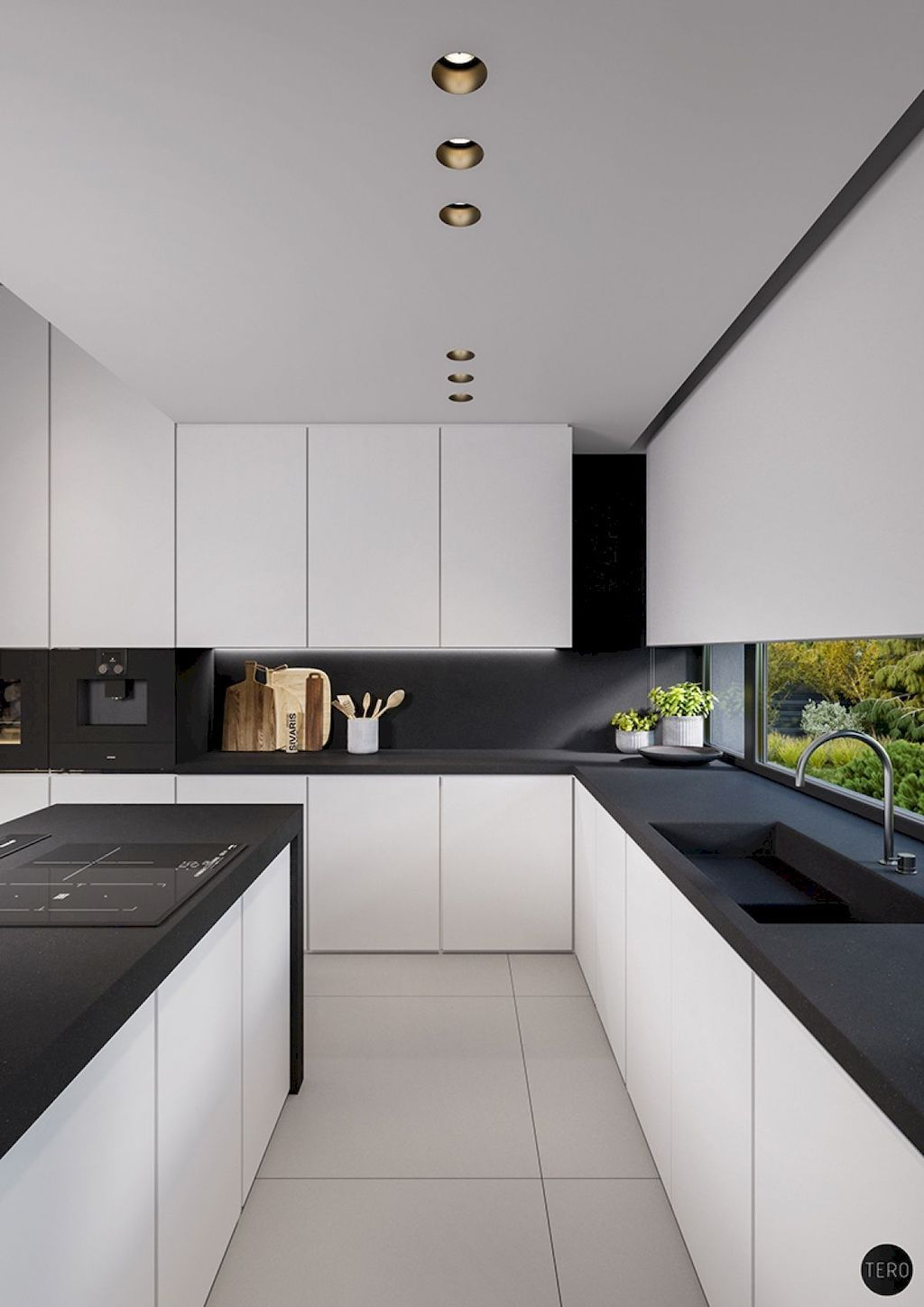 64 Beautiful Black White Kitchen Designs Oneonroom White Kitchen Design Black White Kitchen White Modern Kitchen