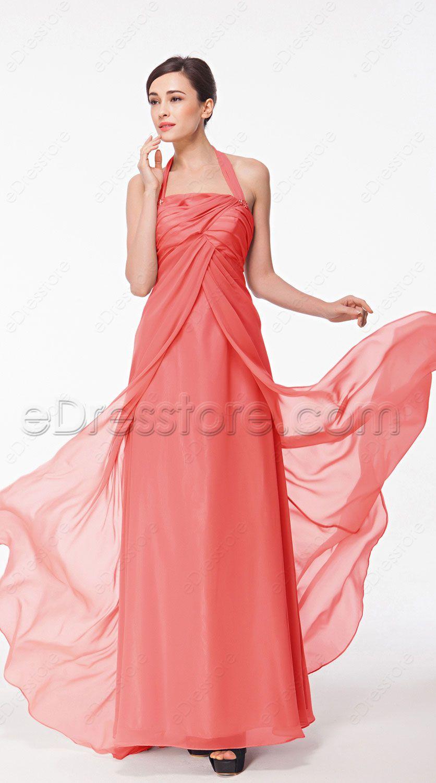 Halter Coral Pregnant Bridesmaid Dresses | Pregnant bridesmaid ...