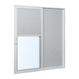 Reliabilt 300 70 75 In X 79 5 In Blinds Between The Glass Right Hand White Vinyl Slidin Sliding Patio Doors Vinyl Sliding Patio Door Double Sliding Patio Doors