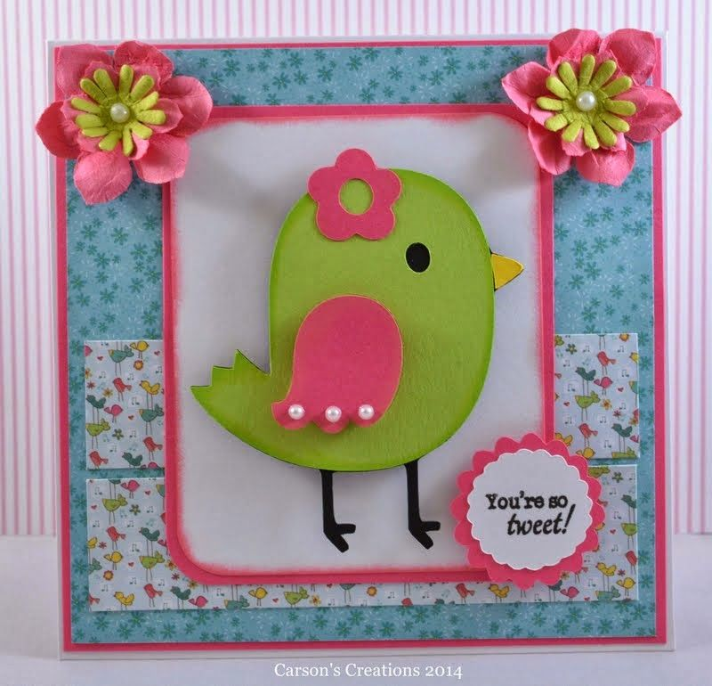 I absolutely adore this little bird from the Cricut Create A Critter cartridge...so, so cute!