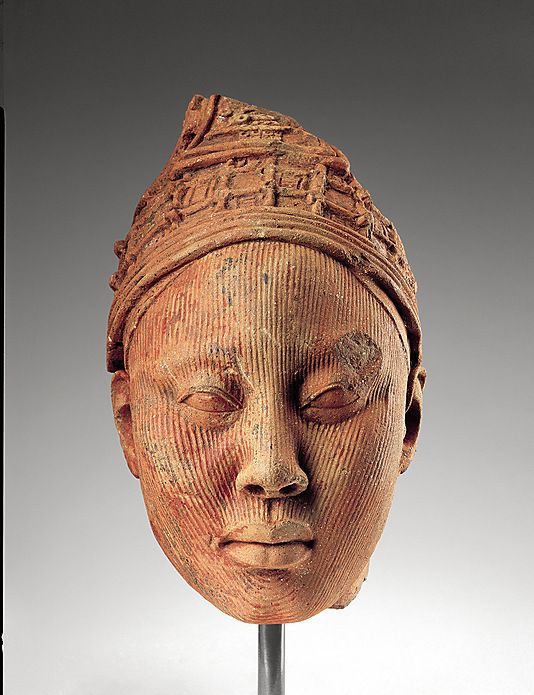 Ife Terracotta heads from the Oyo Kingdom, Nigeria (the bronze sculptures were made by men, the terracotta sculptures - like this head - were made by women)