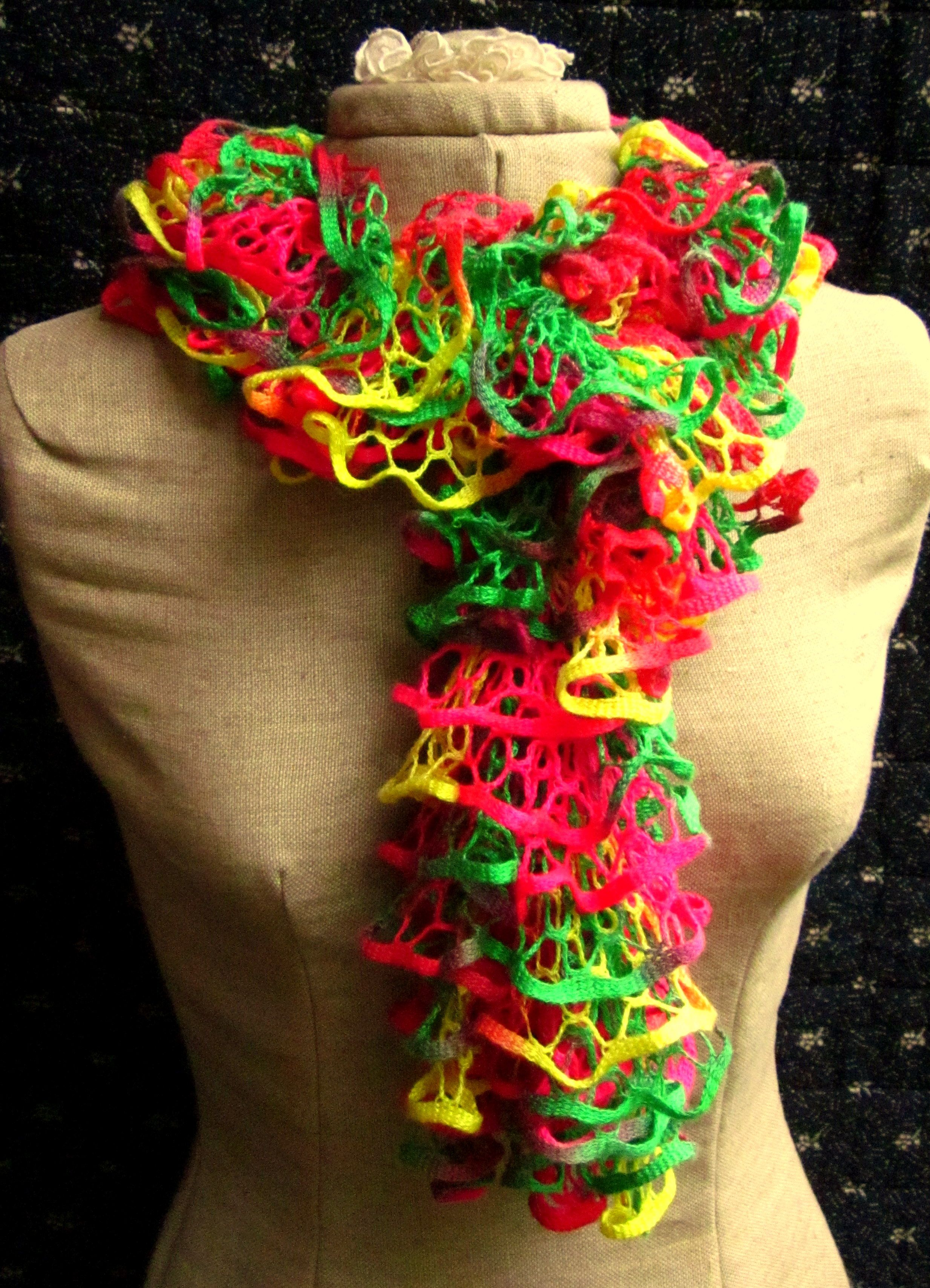 Fun ribbon yarn knit scarf. | Crafts | Pinterest