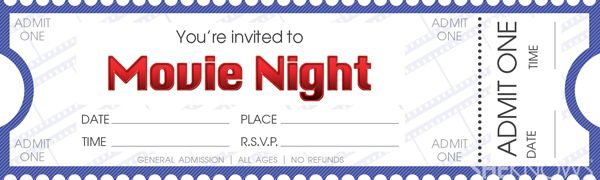 Template For Movie Night | Download And Print Our Movie Ticket Template To  Make Your Movie Night .