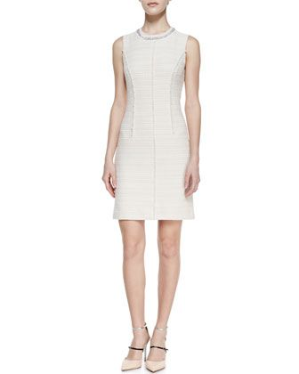 Boucle Tweed Beaded-Neck Sleeveless Dress by Rebecca Taylor at Neiman Marcus.