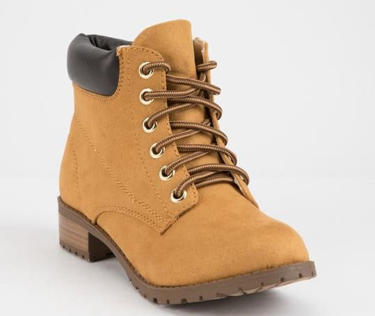ff2dce3e9f07 WOMENS CAMEL BEIGE FAUX SUEDE ANKLE WORK BOOTS BY SODA - VEGAN TIMBERLAND  STYLE BOOTS