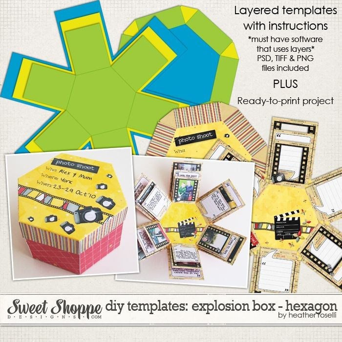 DIY Printable Template to purchase: Hexagon Explosion Box-I have the ...