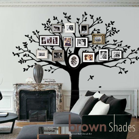 Family Tree Photo Wall family tree wall decal tree wall decalbrownshades on etsy