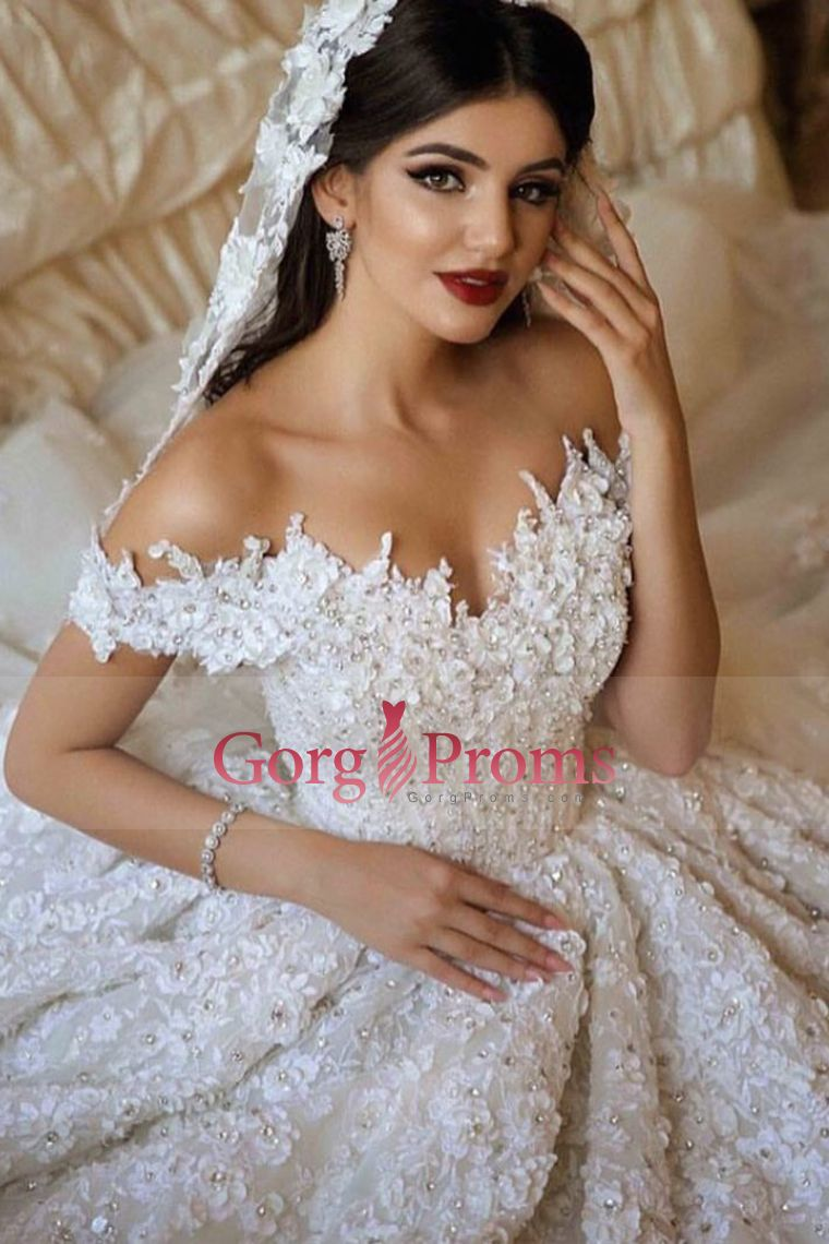 tulle off the shoulder a line wedding dress