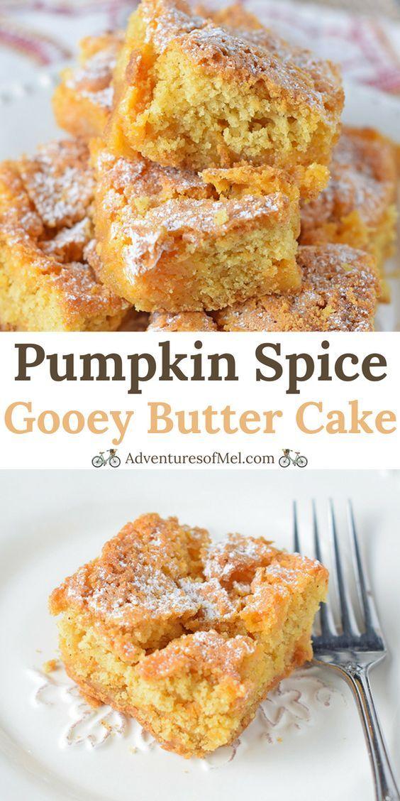 Pumpkin Spice Gooey Butter Cake, a scrumptious cake mix recipe. Fall dessert fil…