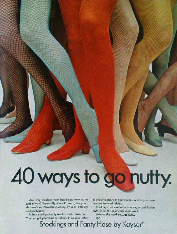 Image result for colored nylons in the 60s