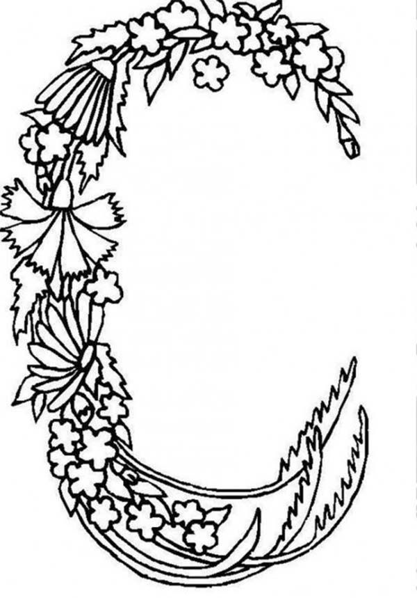 Alphabet Flowers Letter C Coloring Pages