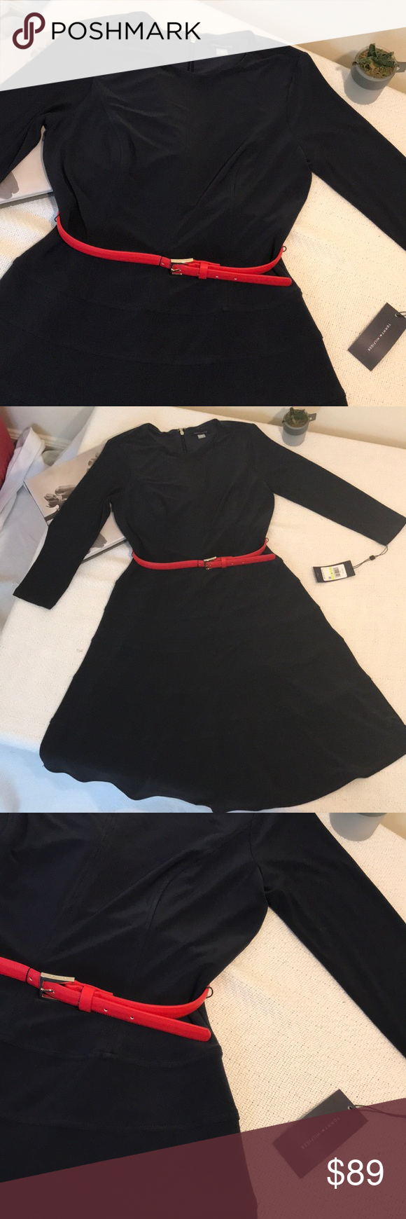 Saleu tommy hilfiger u long sleeve belted dress red belt