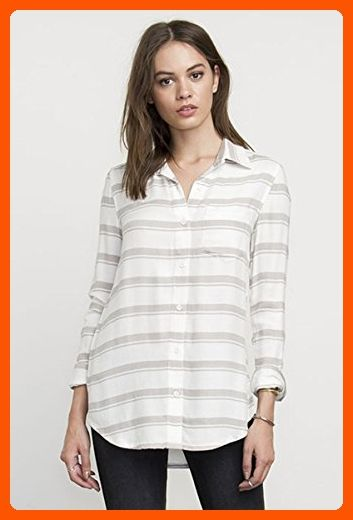 5328d97e8 RVCA Junior's Keeper Long Sleeve Button up Stripe Shirt, Vintage White,  Medium - All about women (*Amazon Partner-Link)