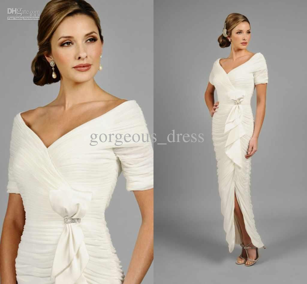 vintage mother of the bride dress with split ruffle long