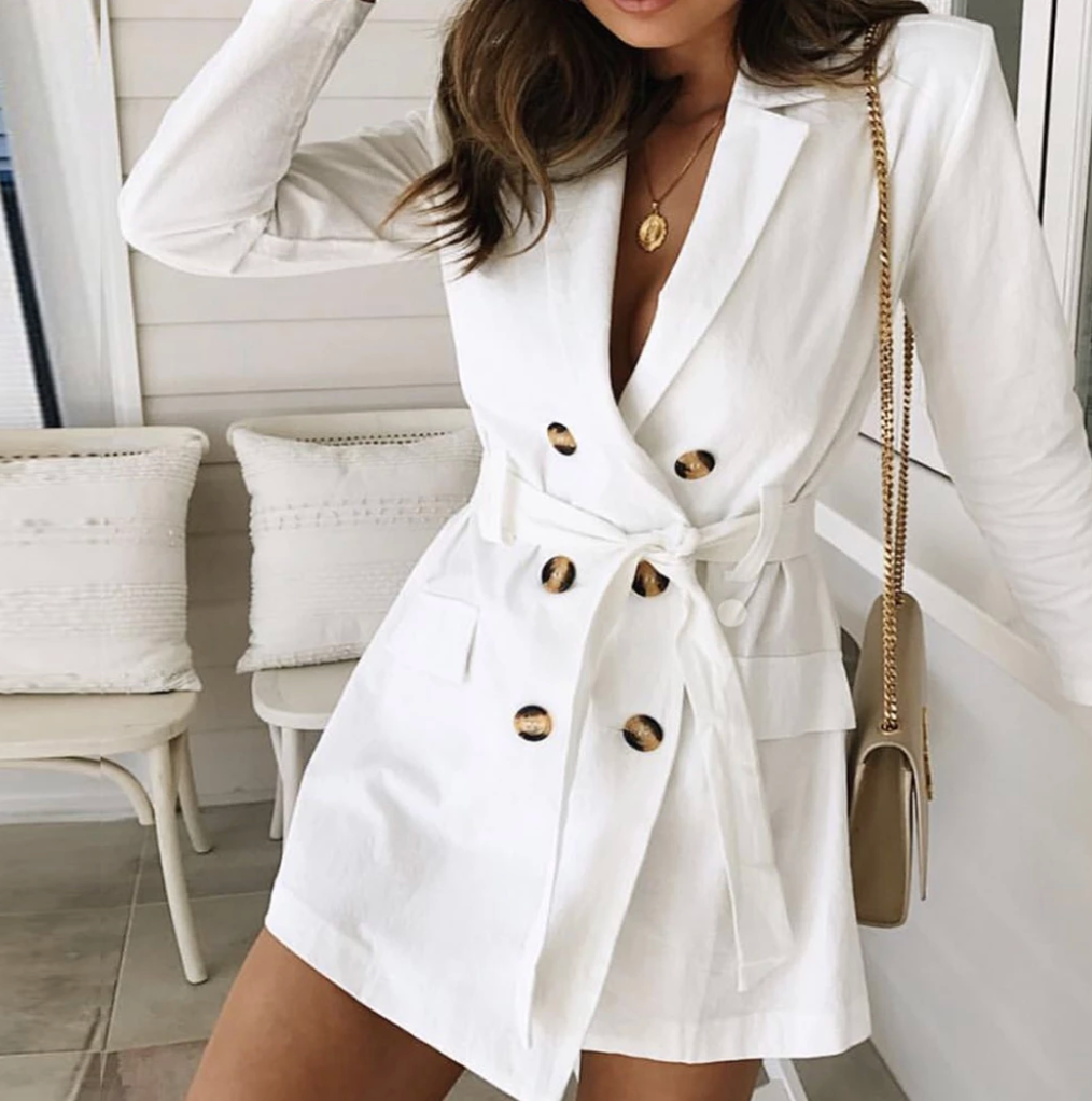 Me And This Coat Perfect Combo Deep V Neck With Buttons Long Sleeve Sash Belt Trench Coat White Trench Coat Women Trench Coats Women White Trench Coat [ 1022 x 1014 Pixel ]