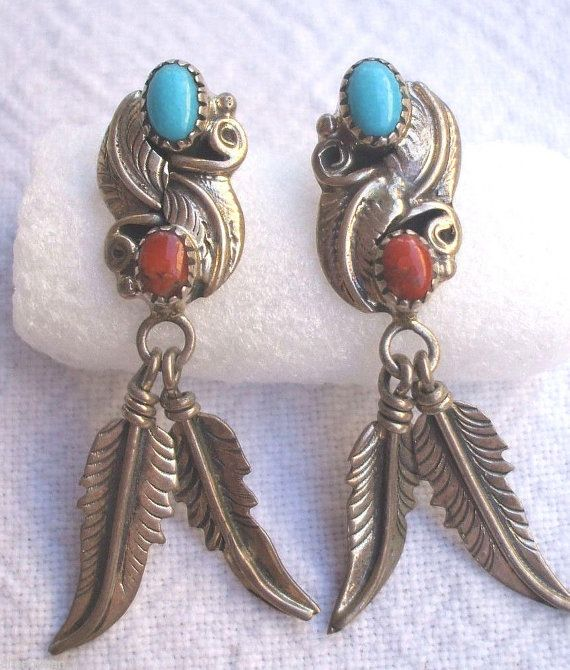 Signed Vintage NAVAJO Sterling Silver Turquoise & Coral EARRINGS Feather Dangles