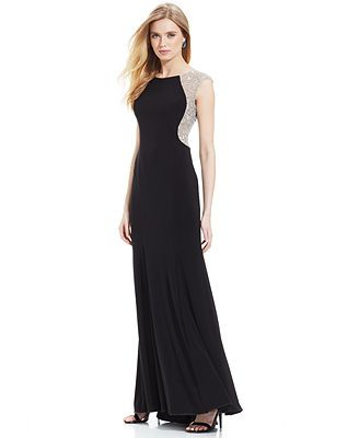 aeef4164a80 Xscape Cap-Sleeve Jewel-Back Gown. To get the full impact of the front    back beading you would need to wear a long ponytail or your hair up