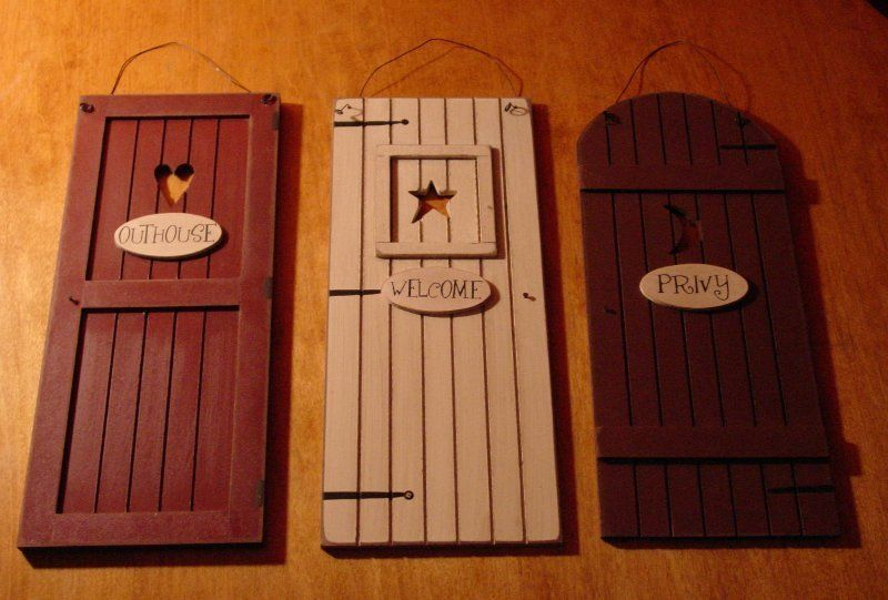 Country Outhouse Welcome Privy 3 Rustic Bathroom Door Signs Set Home Decor New Lodge