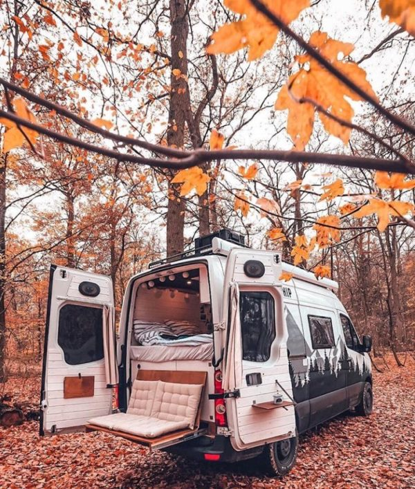 Photo of Couple's Van Life with a Tailgate Loveseat on their DIY VW Crafter Conversion