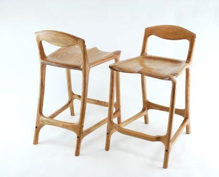 Wondrous Armless Sculpted Cherry Bar Stools Built By Paul Lemiski Evergreenethics Interior Chair Design Evergreenethicsorg