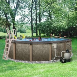 Blue Wave Riviera 18 Ft Round X 54 In Deep Metal Wall Above Ground Pool Package With 8 In Top Rail Nb3604 The Home Depot Backyard Pool Landscaping Pool Landscaping Swimming Pools