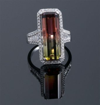 Bi-Color Tourmaline- Bi-Color Tourmaline & Diamond Ring En almacén • $18000