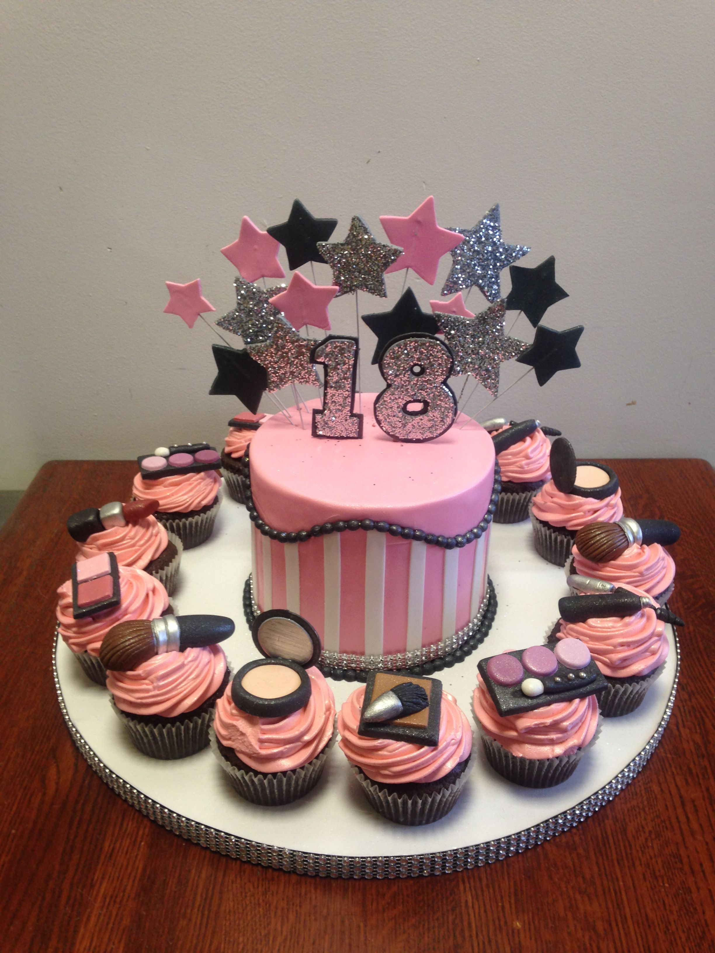 Makeup Themed 18th Birthday Cake And Cupcakes With Images