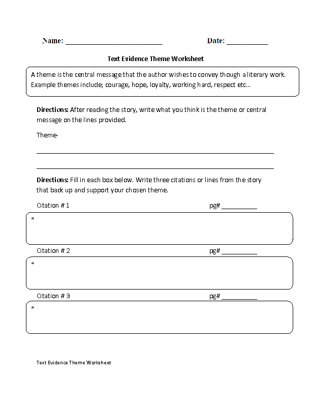 Theme Text Evidence Worksheet | English Language Arts | Pinterest ...