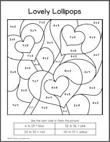 valentine 39 s day color by number multiplication worksheets education multiplication. Black Bedroom Furniture Sets. Home Design Ideas
