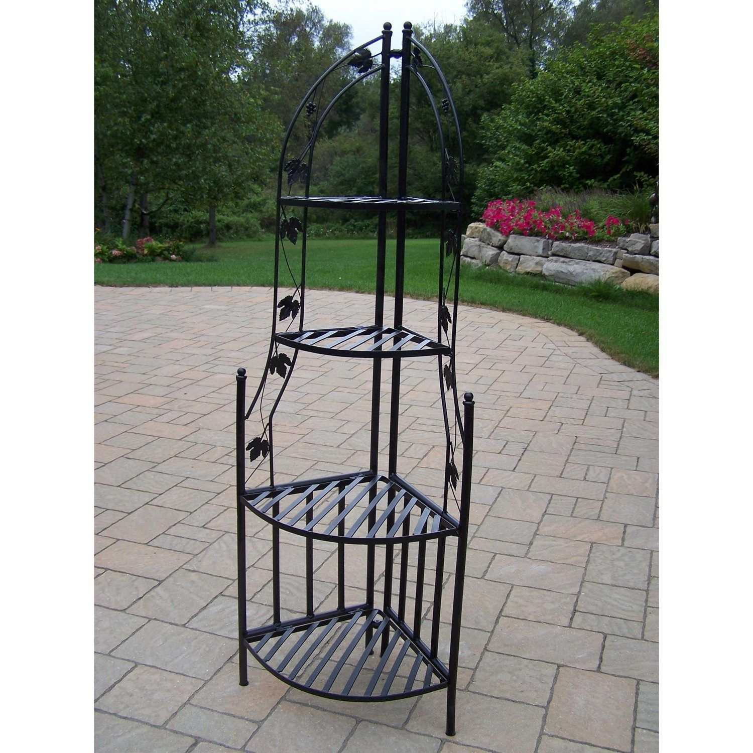 4 Tier Wrought Iron Corner Metal Planter Stand In Black With
