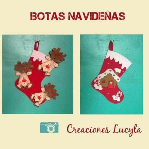 Botitas navideñas. en goma eva | Mis Trabajos en Goma Eva | Pinterest