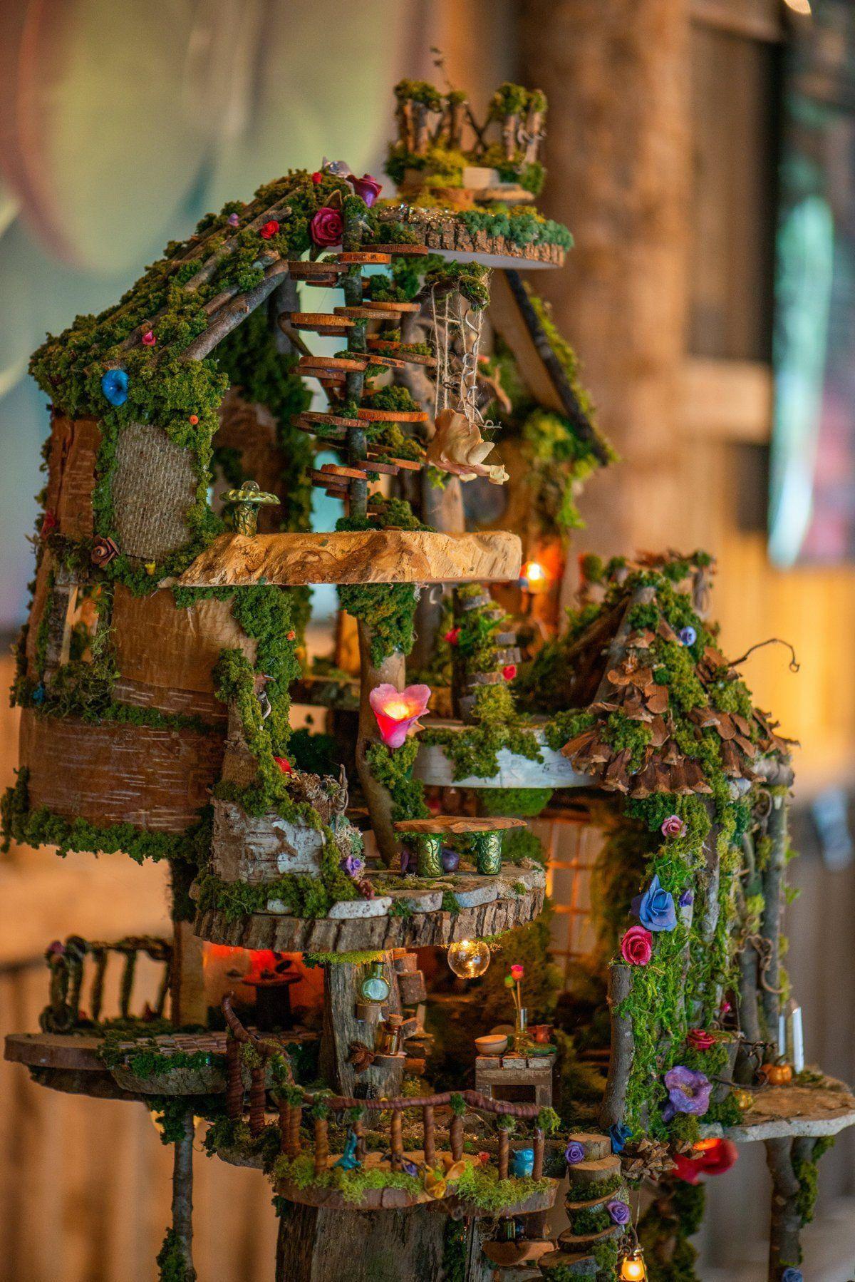 Multilevel Handcrafted Fairy Castle Miniature Fairy Art Dollhouse Fairy Garden Fairy Garden Furniture Fairy Castle Fairy Garden