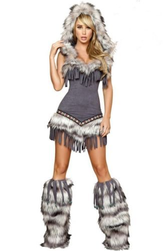 31332dd0bae Details about merican Adult Sexy Fur Winter Halloween Indian Women ...
