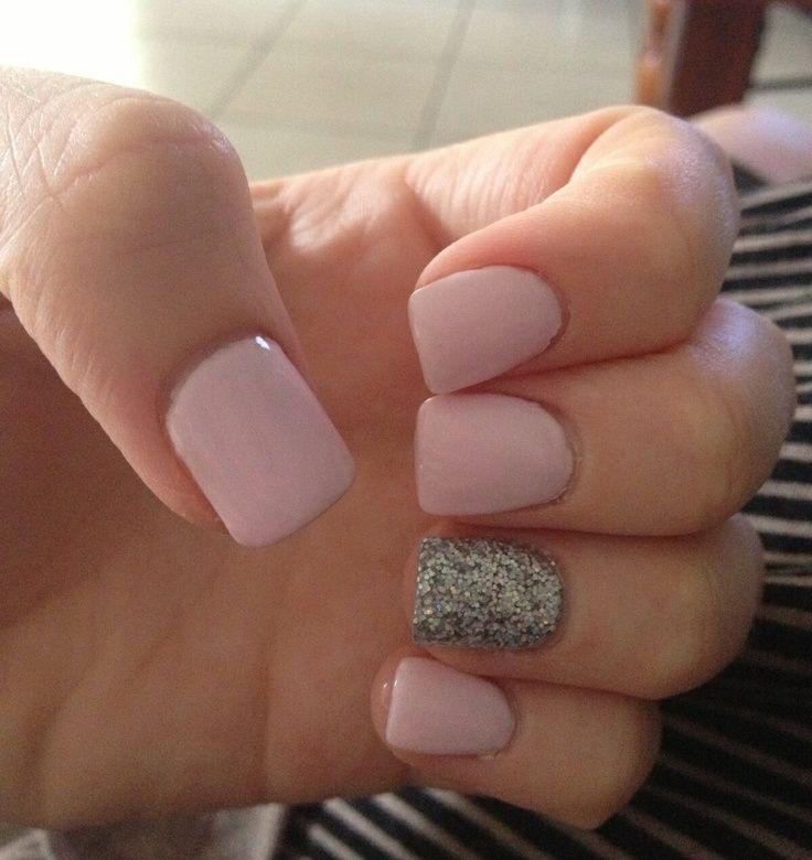 Short Pink And Silver Acrylics My Nails Pinterest Natural Acrylic Nails Short Pink Nails Short Acrylic Nails