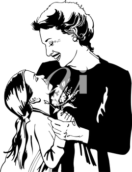 a grandmother and granddaughter grandparents day clipart