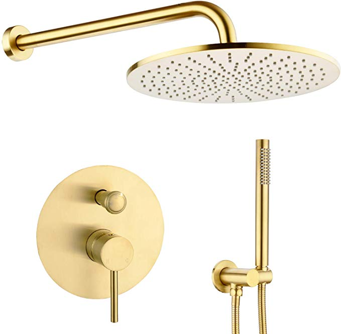 Trustmi 12 Inch Round Bathroom Luxury Rain Mixer Combo Set Wall Mounted Rainfall Shower Head System Brushed Go Rainfall Shower Head Rainfall Shower Gold Shower