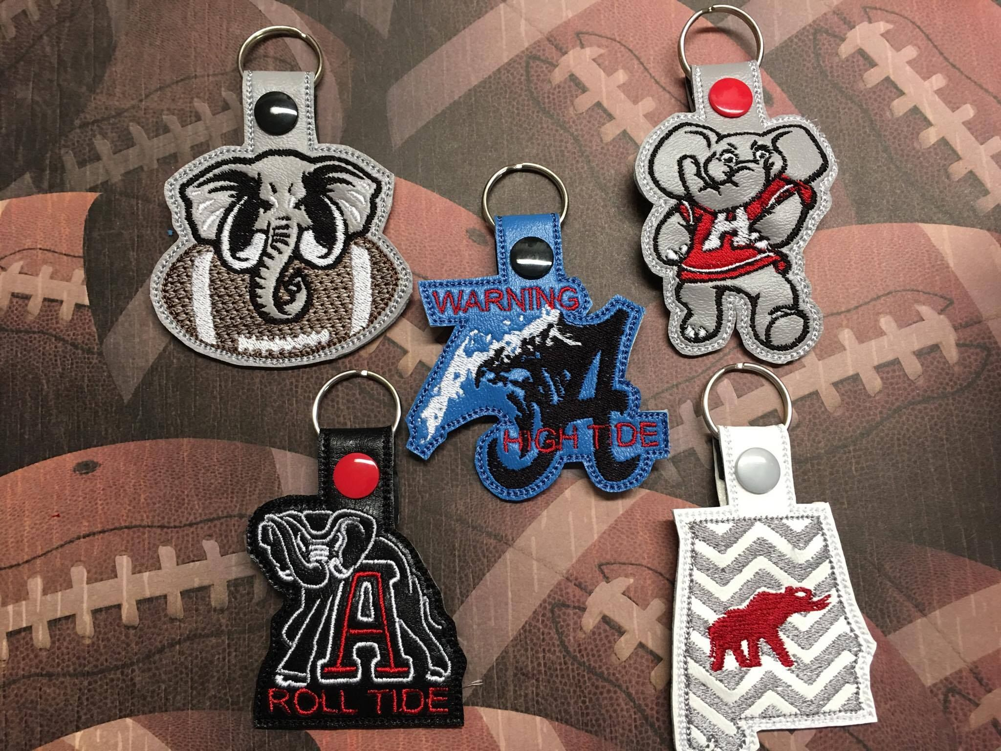 Set of roll tide fobs embroidery and applique roll tide