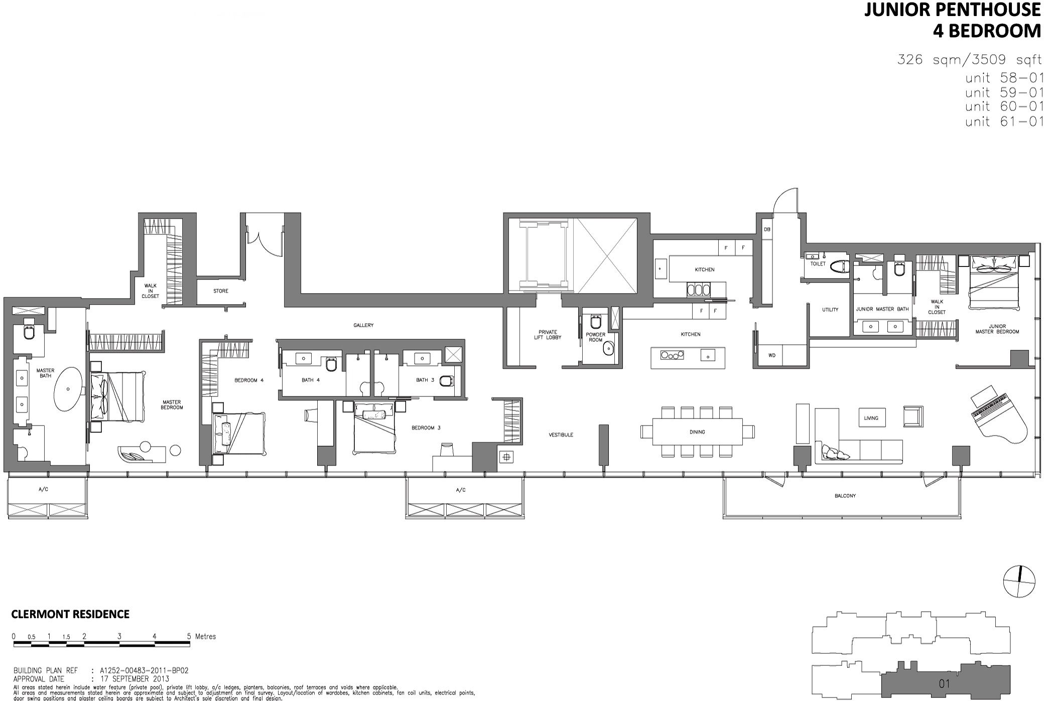 Wallich Residence Singapore 4br Junior Penthouse 3509sqft Floor Plans Multifamily Housing Penthouse View