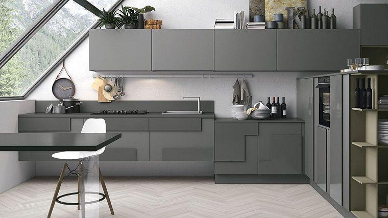 cucina bianca e grigia dal design originale | Cuisine | Pinterest ...