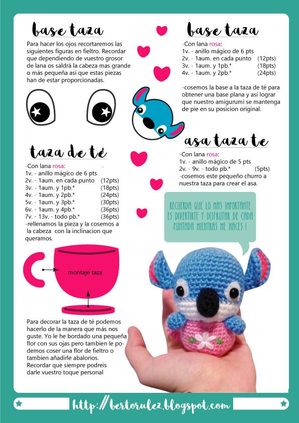 Stitch tea time amigurumi bertorulez patron | Móc con vật ...