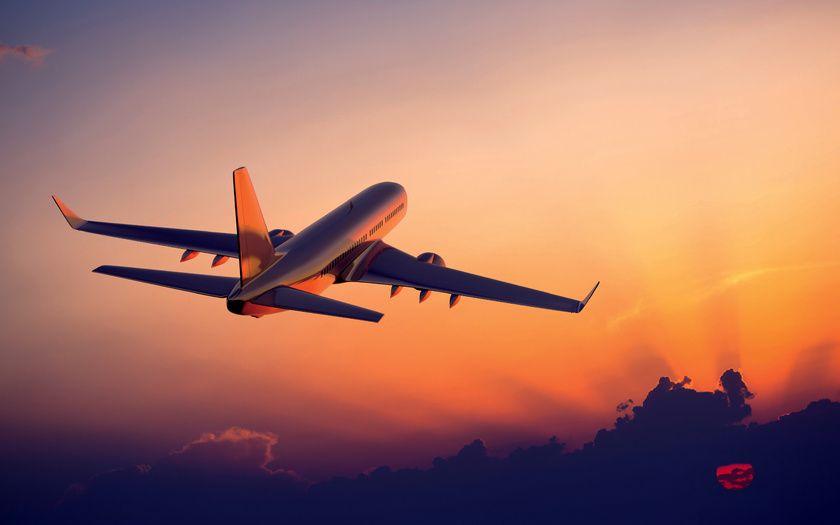 Картинки летит, закат, самолет, небо, в воздухе на рабочий ...