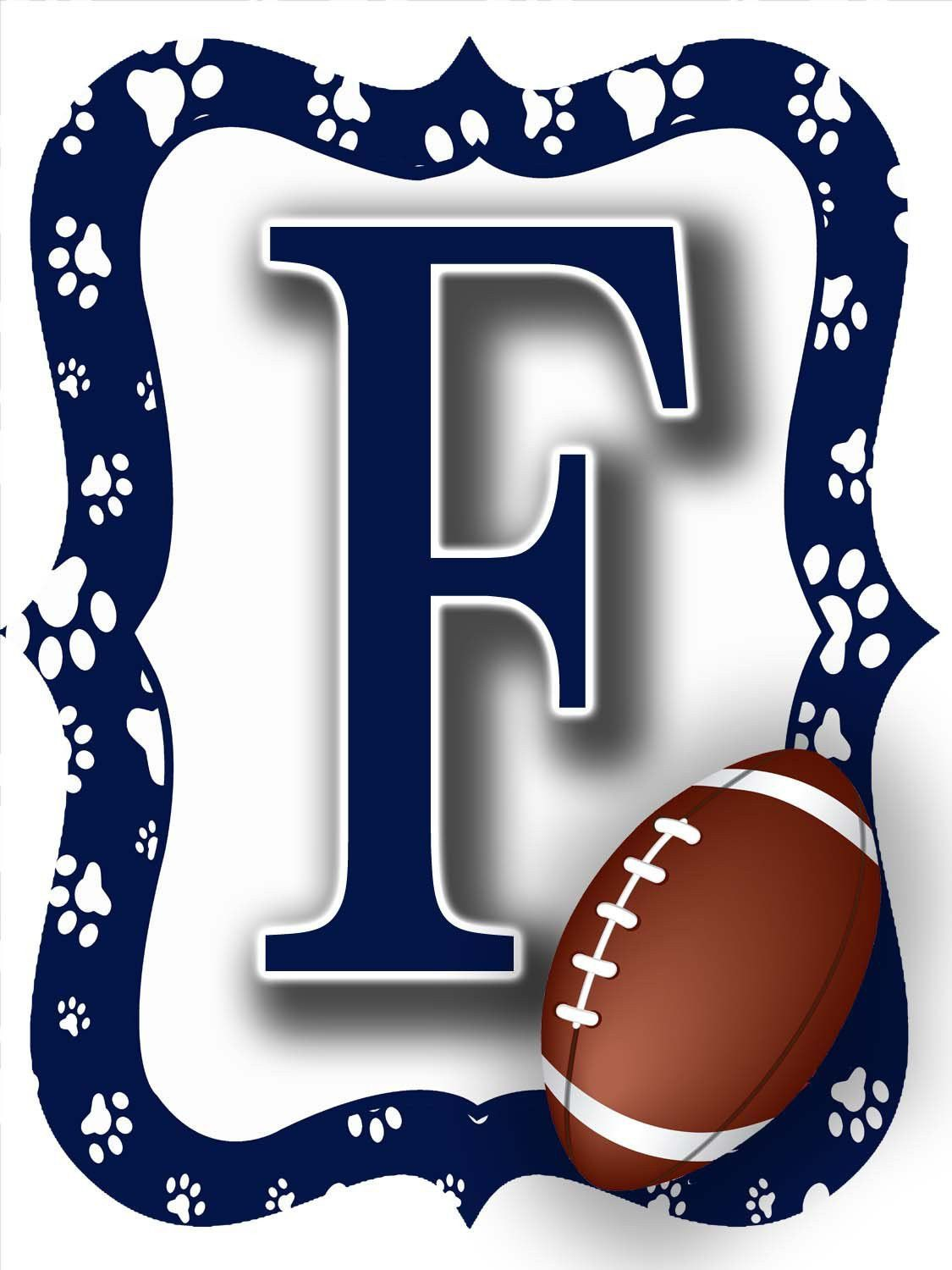Navy blue u white paw print football door hanger the letter f