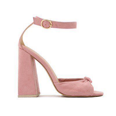 0db00564949 Embrace Knot Front Flared Block Heels in Blush Pink Faux Suede ...