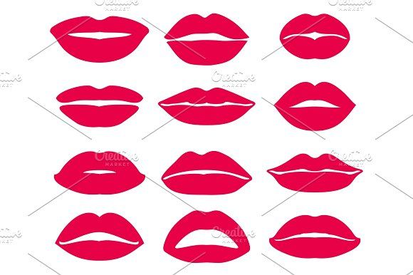 Woman Lips Expression Vector Icons Set Graphics Woman Lips