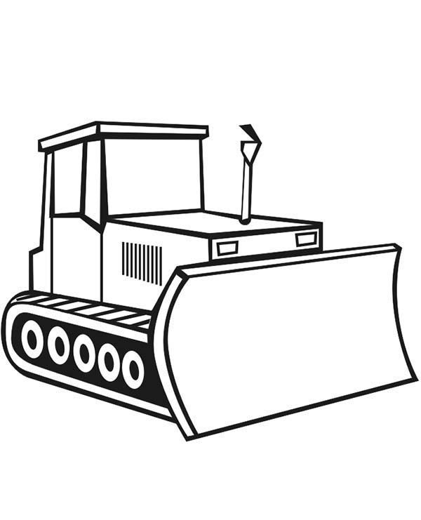 Construction Bulldozer For Construction Work Coloring Page
