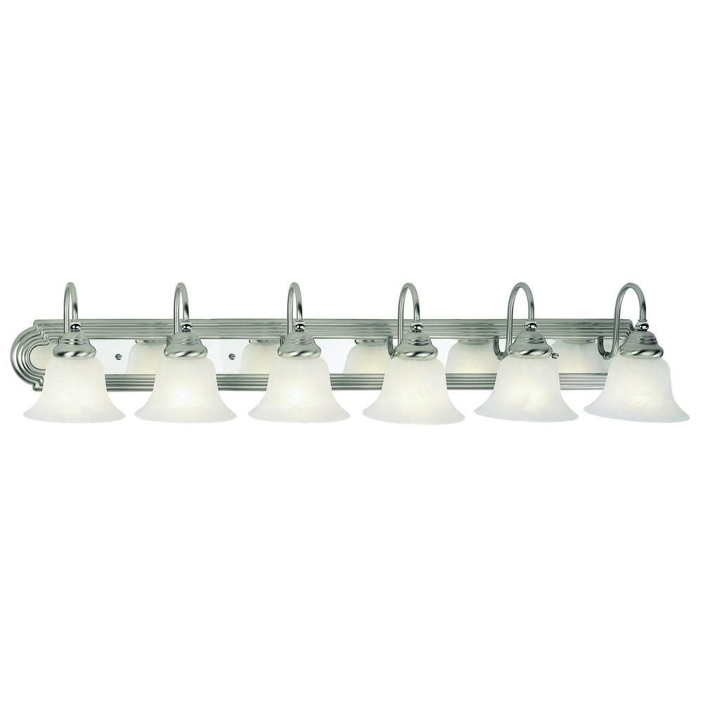 Photo of Livex Lighting 6-light bathroom lamp made of antique brass with white alabaster glass shade 1006-01 – The Home Depot